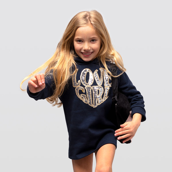 Girl's Navy Sequins Sweathirt Dress
