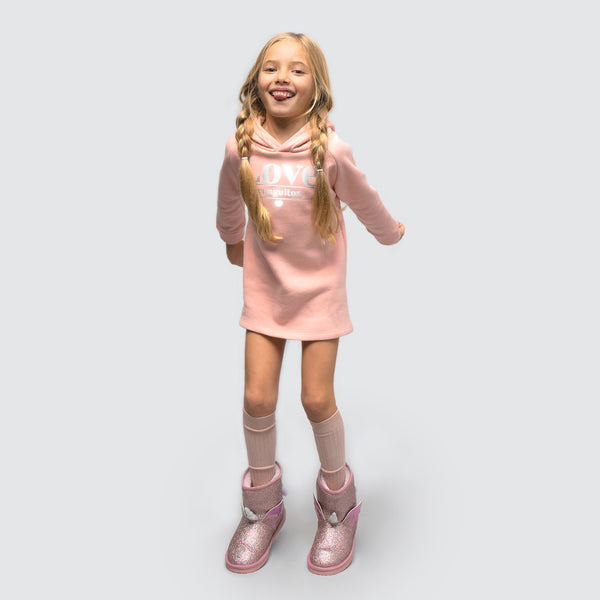 Girl's Pink Reflectant Sweatshirt Dress
