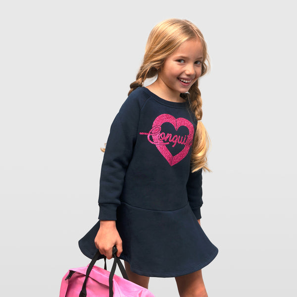 "Girl's Navy ""Heart Glitter"" Dress"