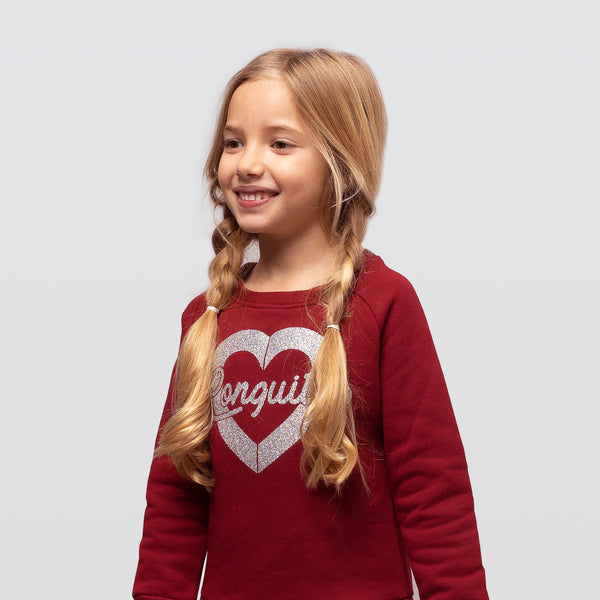 "Girl's Bourdeaux ""Heart Glitter"" Dress"