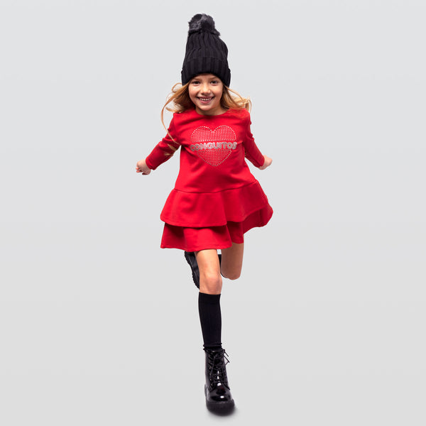 Girl's Red Ruffled Dress