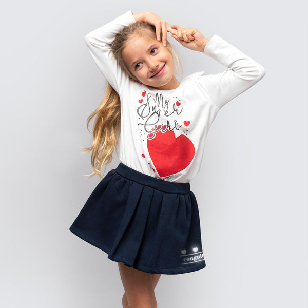 Girl's Navy Reflectant Skirt