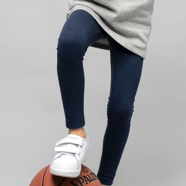 Girl's Navy Cotton Leggings