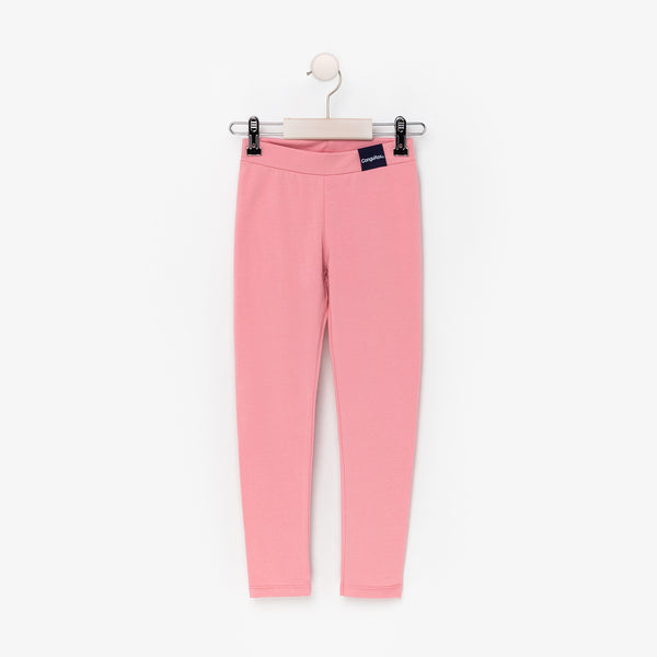 Girl's Pink Cotton Leggings