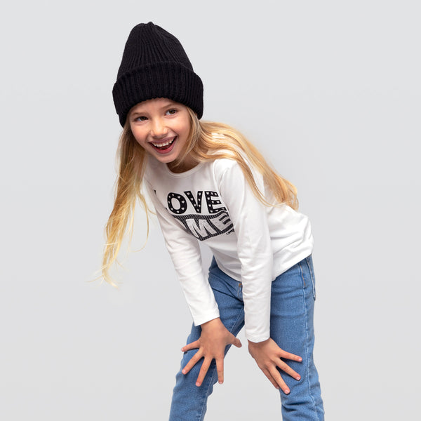 "Girl's White ""Love Me"" Shirt with Lights"