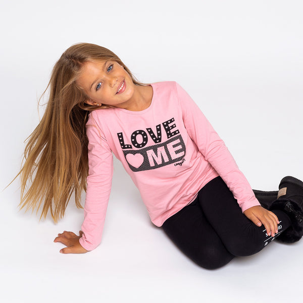 "Girl's Pink ""Love Me"" Shirt with Lights"