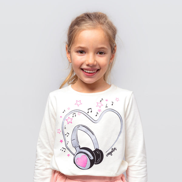 "Girl's Beige ""Music""  T-shirt"