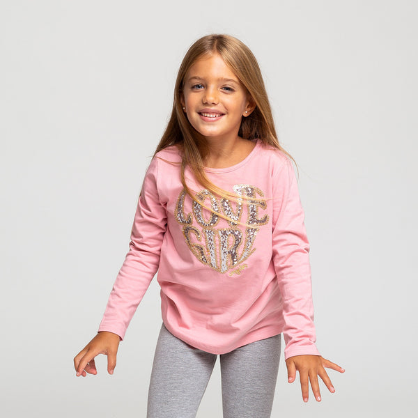 Girl's Pink Sequins T-shirt