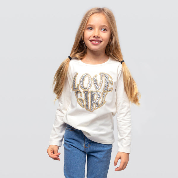 Girl's Beige Sequins T-shirt