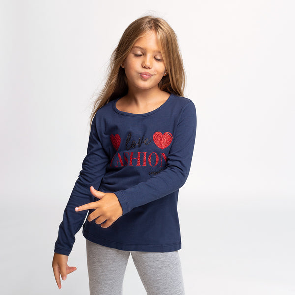 "Girl's Navy ""Fashion""  T-shirt"