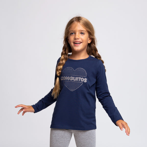"Girl's Navy ""Heart Strass"" T-shirt"