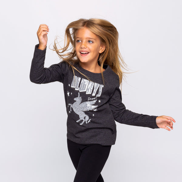Girl's Grey Unicorn Glows in the Dark T-shirt