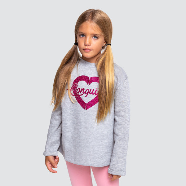 Girl's Grey Heart Glitter Sweatshirt