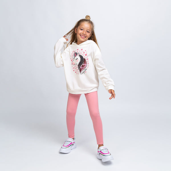 Girl's Ecru Unicorn Sweatshirt