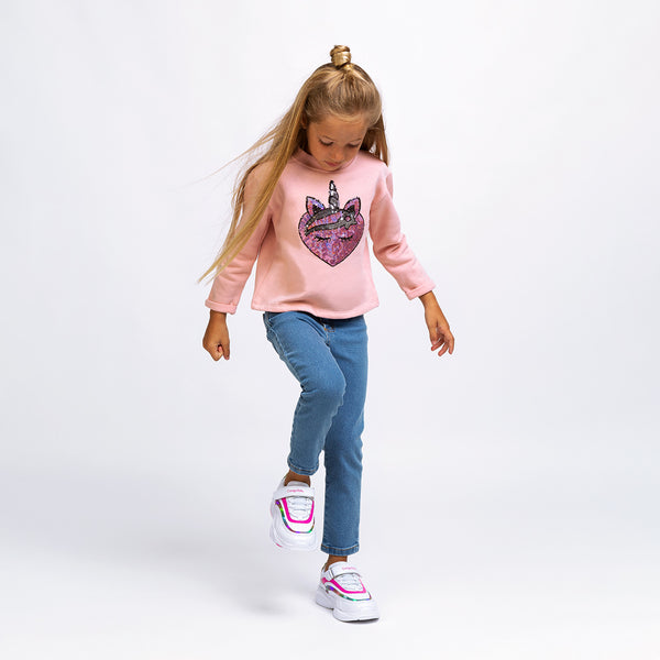 Girl's Pink Unicorn Sequins Sweatshirt