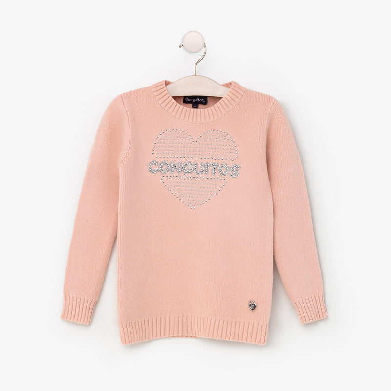Girl's Pink Strass Jersey