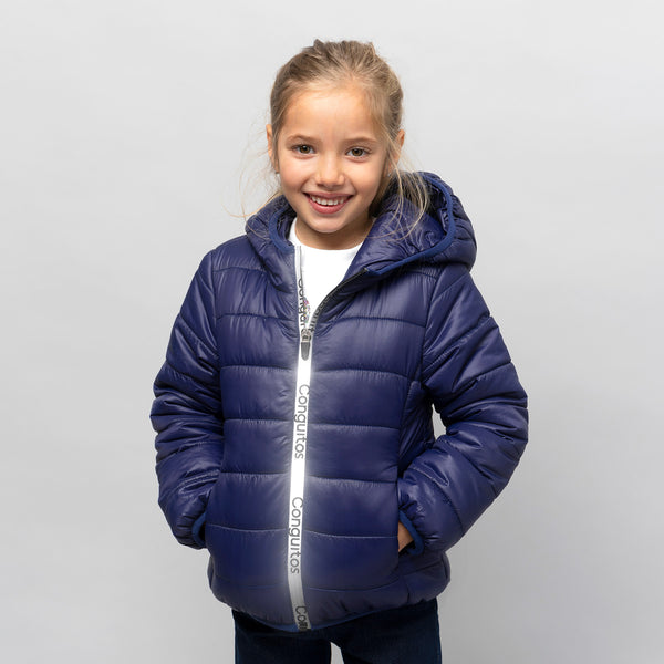 Girl's Navy Recycled Reflectant Anorak