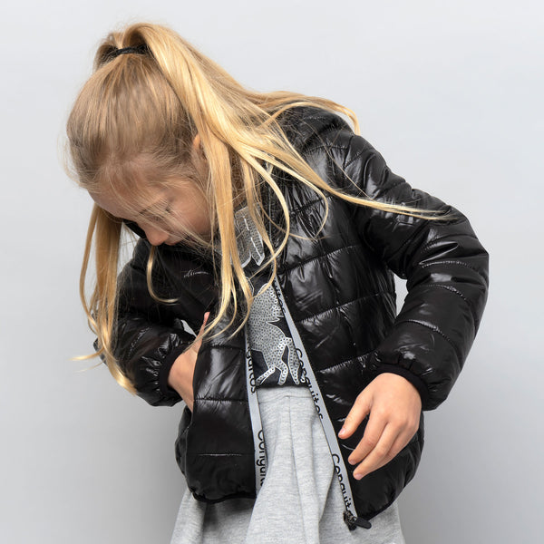 Girl's Black Recycled Reflectant Anorak