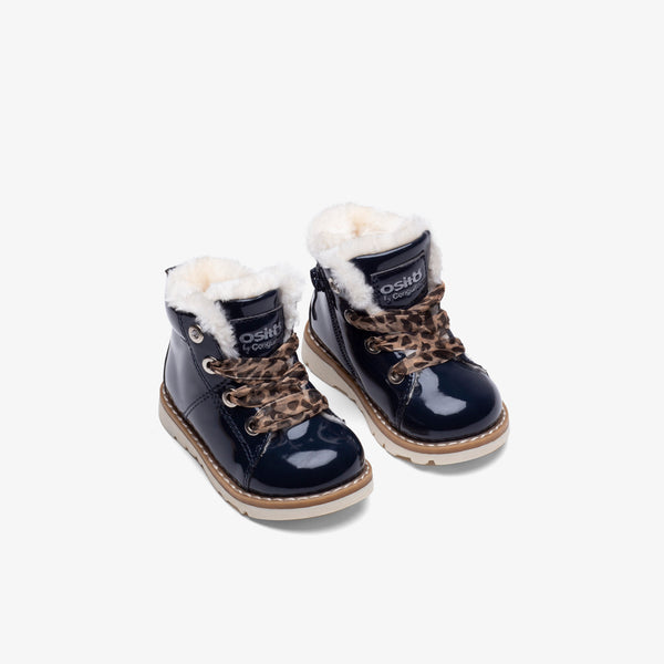 Baby's Navy Patent Leather Boots