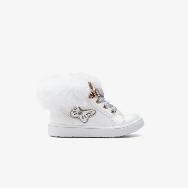 Baby's White Butterfly Patent Leather Boots