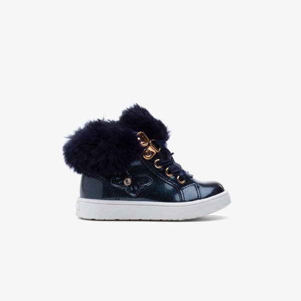 Baby's Navy Butterfly Patent Leather Boots