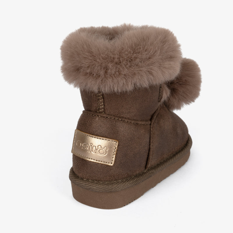 Baby's Taupe Pompom Australian Boots