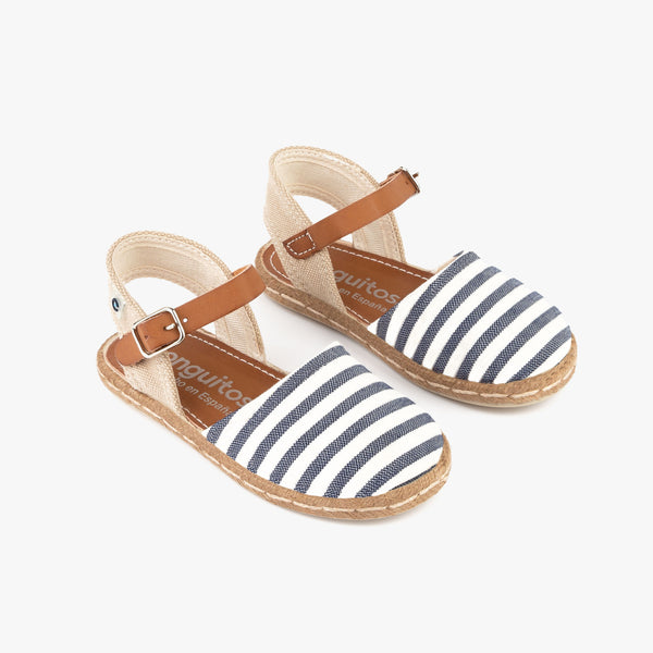 Girl's Navy Stripes Espadrilles