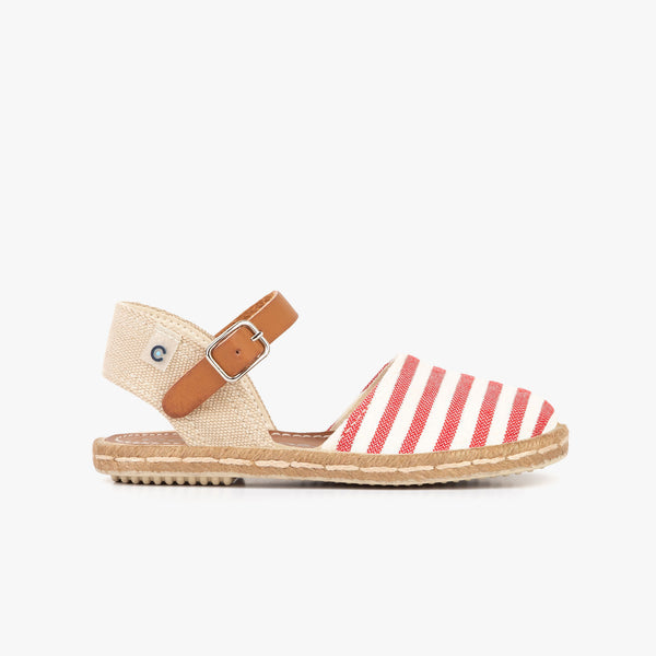 Girl's Red Stripes Espadrilles