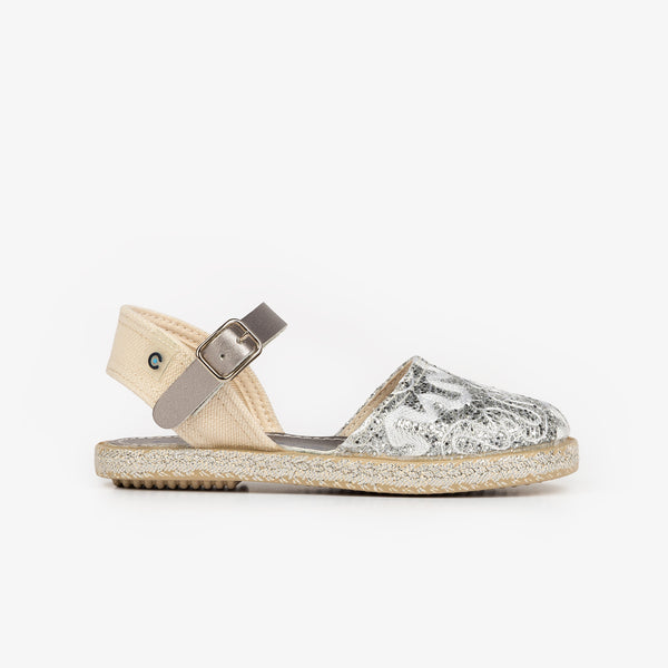 Girl's Silver Embroidery Espadrilles