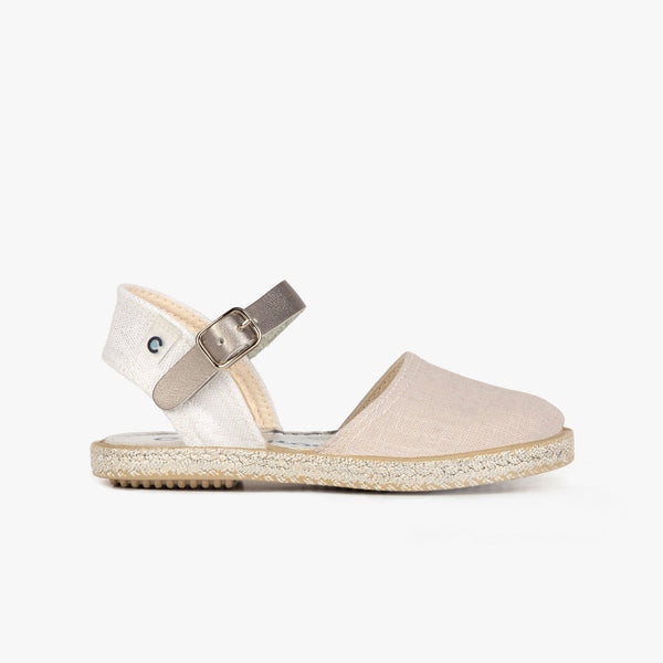 Girl's Metallized Silver Espadrilles