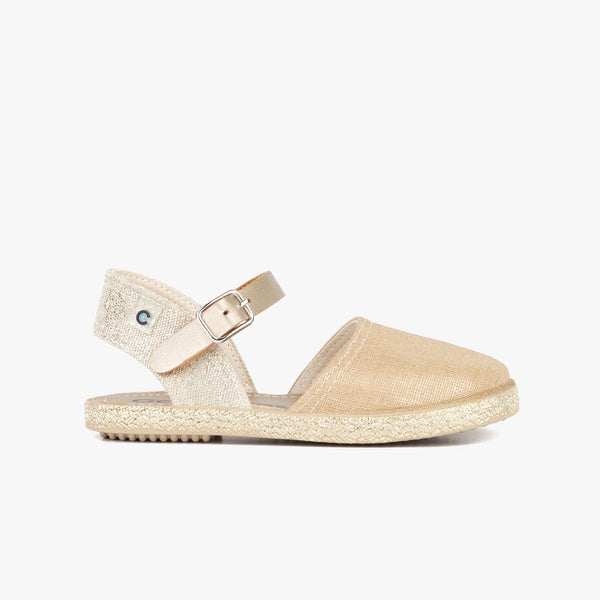 Girl's Metallized Platinum Espadrilles