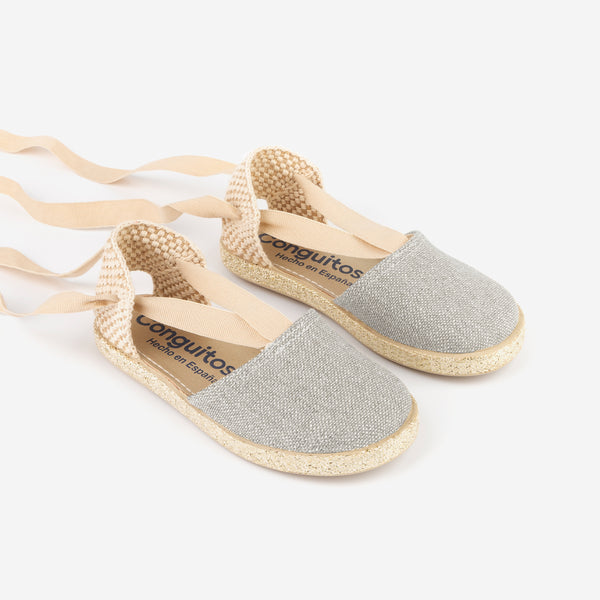 "Girl's ""Lace"" Silver Espadrilles"