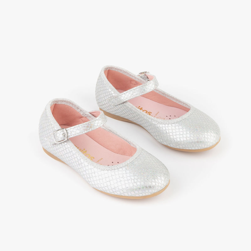 Girl's Metallized Silver Mary Janes