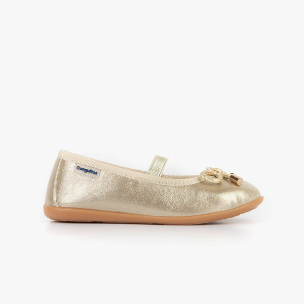 Girl's Metallized Platinum Ballerinas