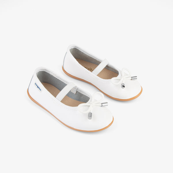 Girl's White Leather Ballerinas