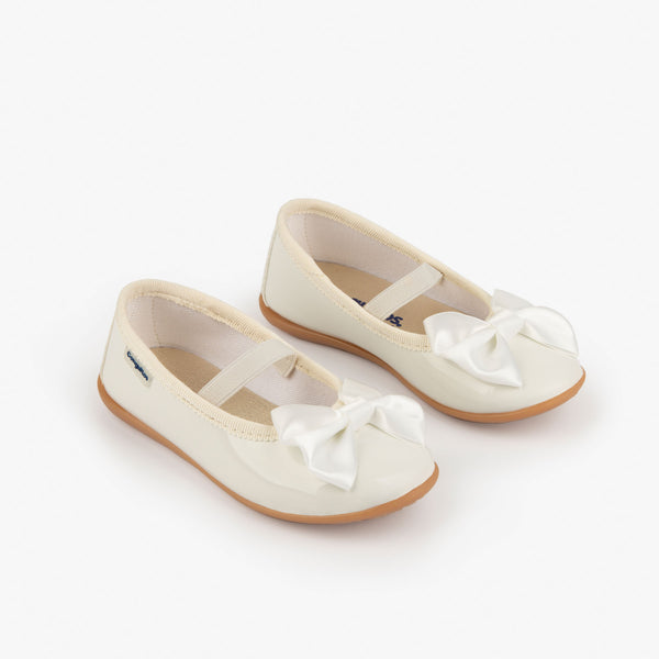 Girl's White Patent Leather Ballerinas