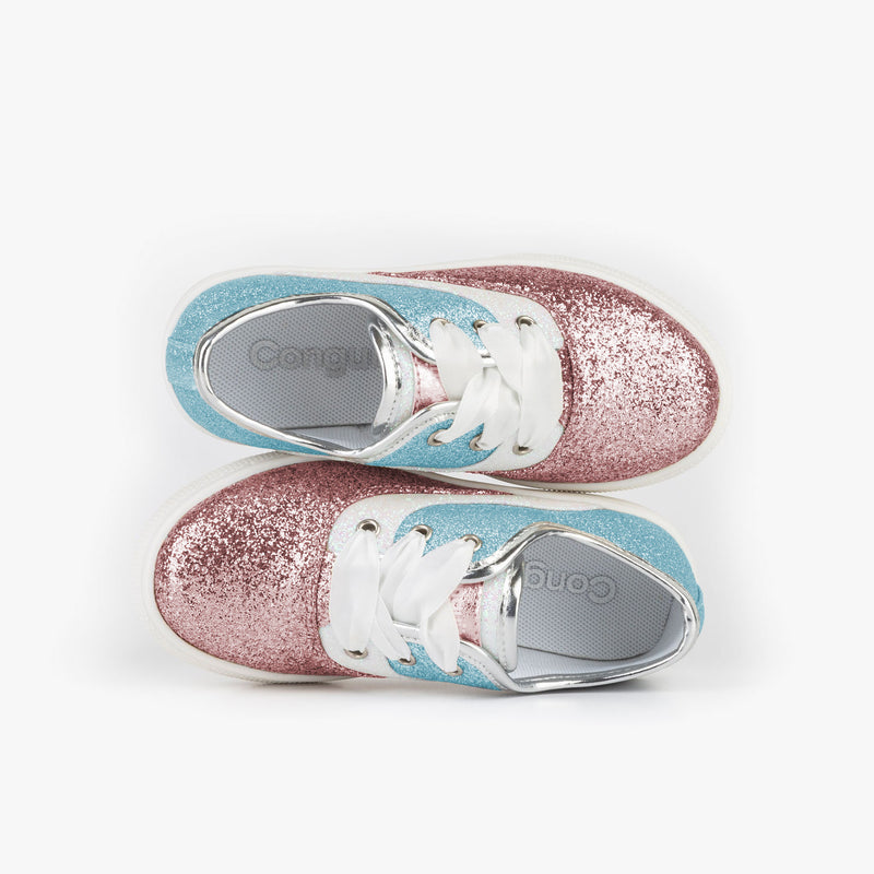 Girl's Pink Blue Glitter Sneakers