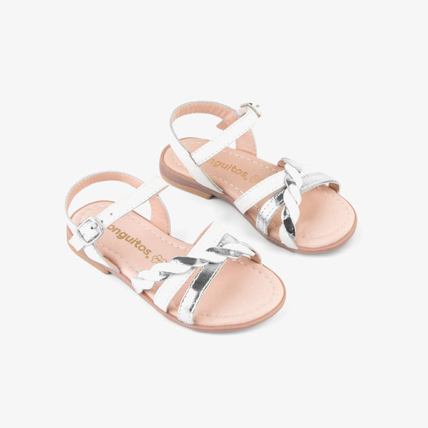 Girl's White And Silver Leather Sandals