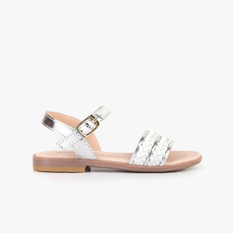 Girl's White and Silver Sandals