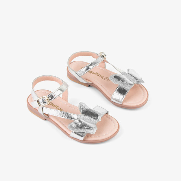 "Girl's ""Butterfly"" Silver Leather Sandals"