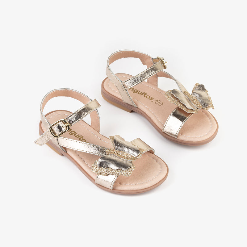 "Girl's ""Butterfly"" Platinum Leather Sandals"