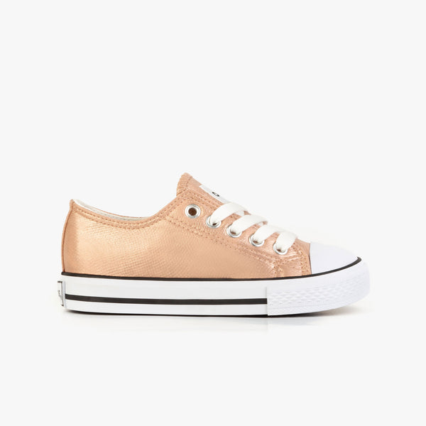 Girl's Pink Metallized Sneakers
