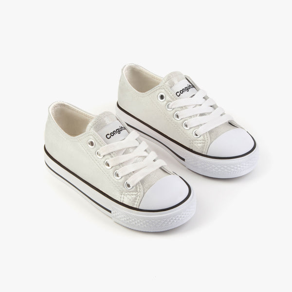 Unisex Metallized Silver Sneakers