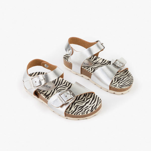 Girl's Silver Metallized Bio Sandals
