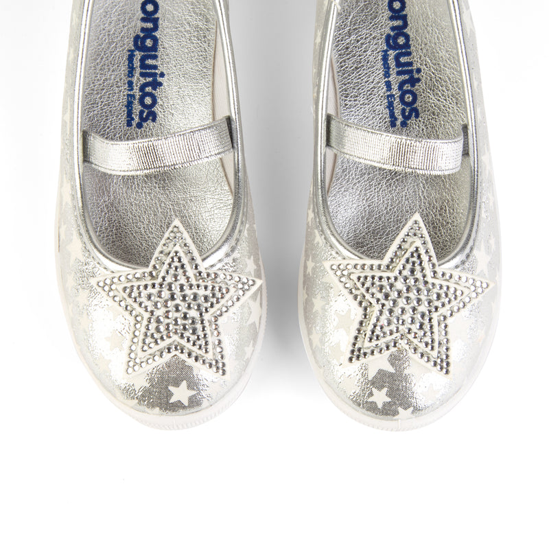 "Girl's ""Star"" Silver Ballerinas"