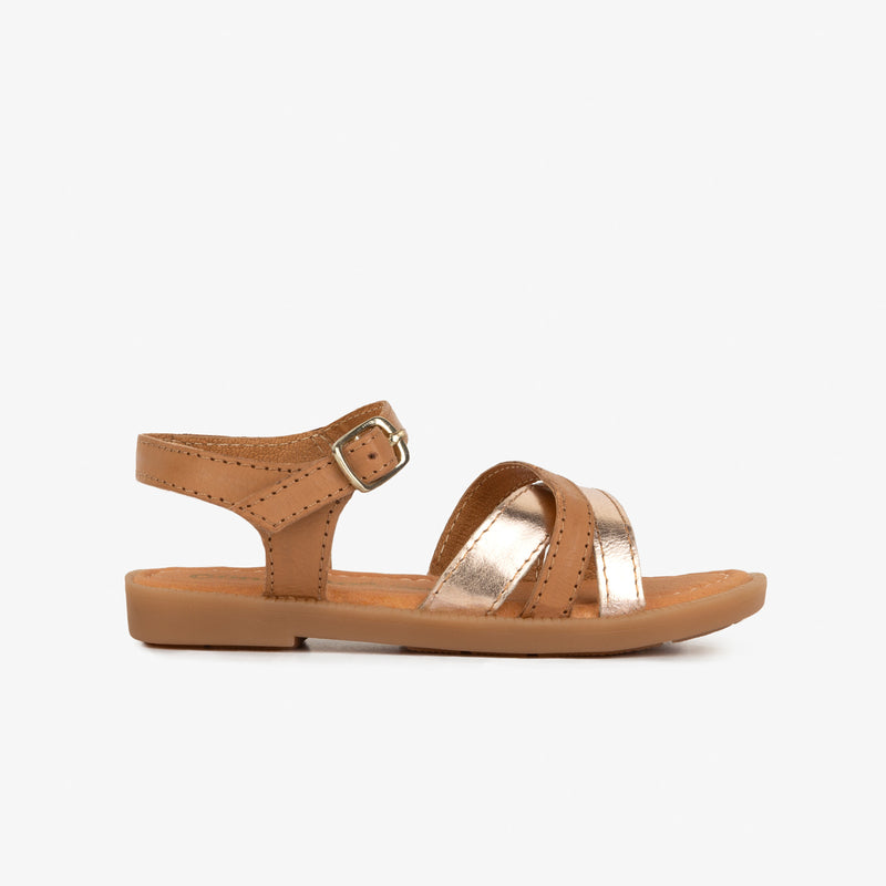 Girl's Brown Strips Leather Sandals