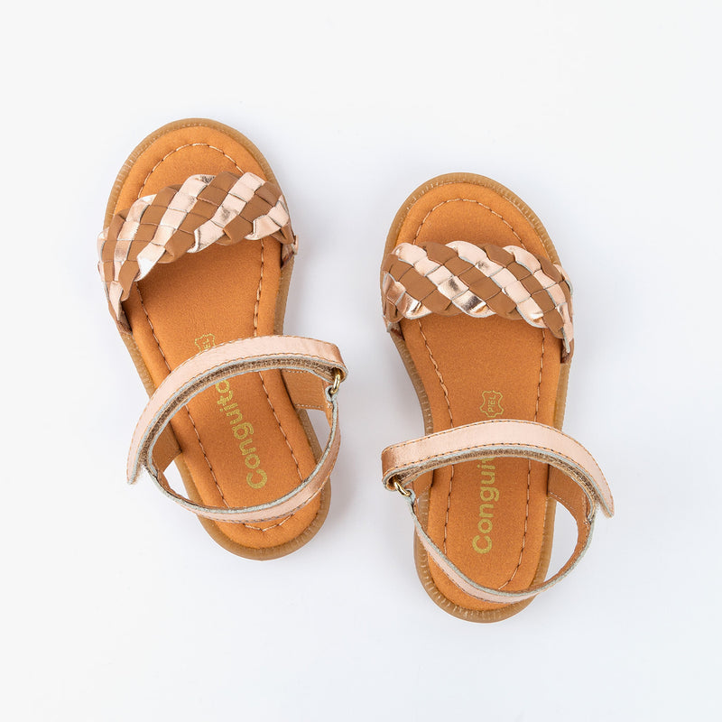 Girl's Brown Braided Leather Sandals