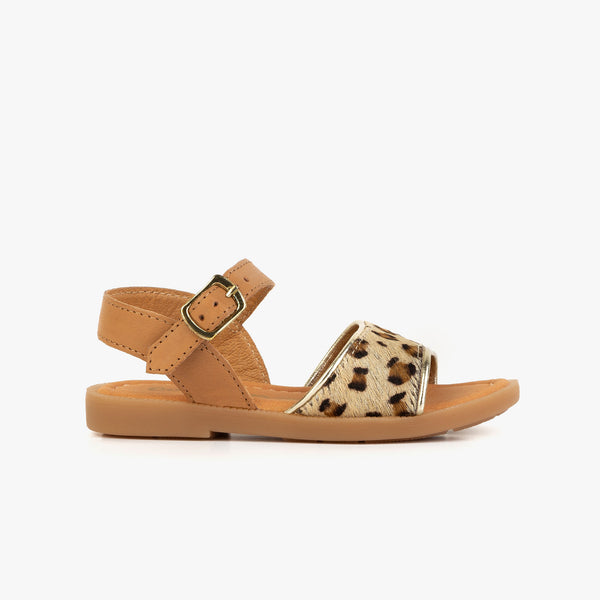Girl's Leopard Leather Sandals