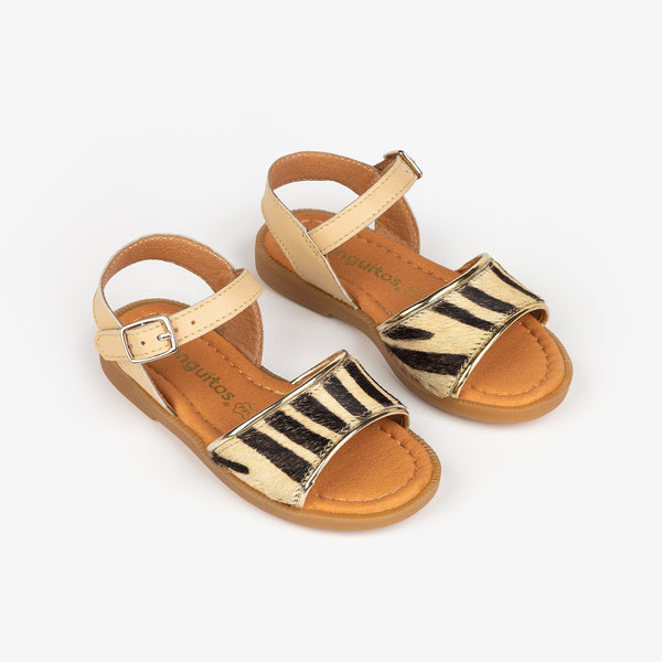 Girl's Zebra Leather Sandals