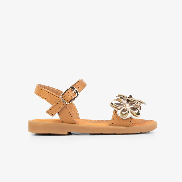 Girl's Brown Flowers Leather Sandals